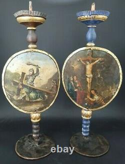 Pair Of Pique Cierges, Late 18th Century, Early 19th Century