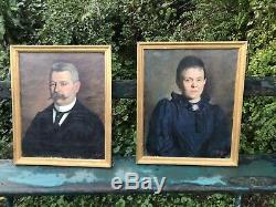 Pair Of Portraits Oils On Canvas Epoch Nineteenth Couple Bourgeois
