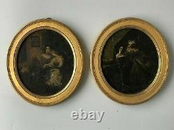 Pair Of Romantic Painting On Cardboard Xixth Time H 18.5 CM