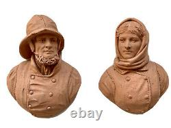 Pair Of Sculptures Terracotta Couple Sailor Fisherman Characters Period 19th