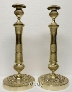 Pair Of Superb Great Bougeoirs In Bronze Empire Period XIX Candlesticks