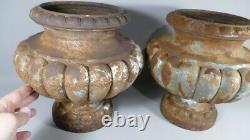 Pair Of Vases Garden, Planters, Cast Iron, Style Medicis Era XIX