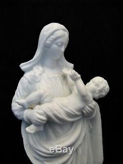 Paris Porcelain Sculpture Old Virgin And Child Era Nineteenth Century
