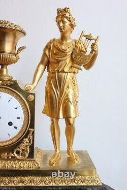 Pendule Ancient Subject On Marble Green Period Empire 19th