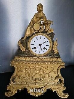 Pendule Era Restoration Gilded Bronze Xixeth Yarn Movement Old Clock Empire
