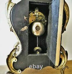 Pendule, Louis Xv-style Gilded Bronze Cartel, 19th Century. H. 45 CM