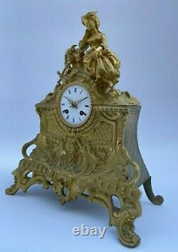 Pendulum Bronze XIX Eme Courtesan Birds Dial Email Romantic Period H2191