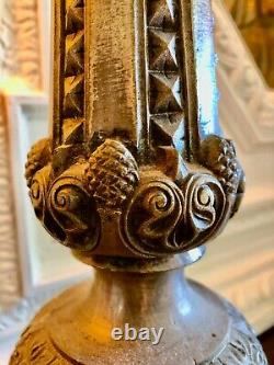 Pique-cierge/chandelier Church Period 19th Bronze Silver 1900 / 71 CM