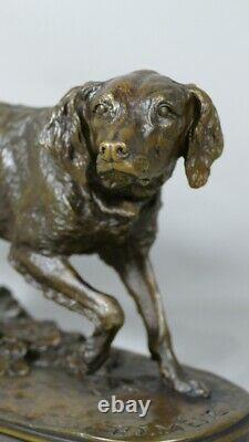 Pj Mene, Spaniel At The Stop, Bronze Animal At Dark Patine, 19th Century