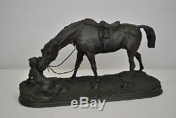 Pj Mene, Stable Mare With Dog, Signed Bronze, Epoque XIX