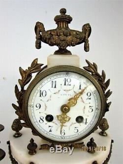 Portico Clock Ormolu & Alabaster Style Louis XVI Period Late Nineteenth