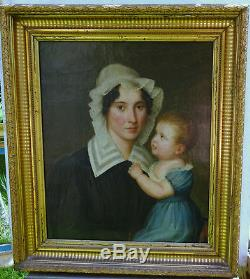 Portrait Of A Woman And Child Charles X Hst French School Xixth Century