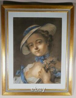 Portrait Of A Young Woman At The Hat And Bouquet Of Flowers, Pastel Era Xixem
