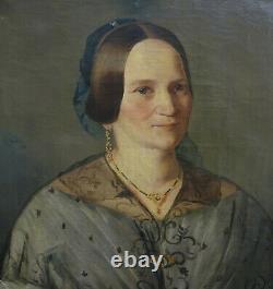 Portrait Of Alsatian Woman, 19th Century Alsatian Period Louis Philippe Hst