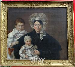 Portrait Of Family Woman And Children Period Louis Philippe Hst Of The 19th Century