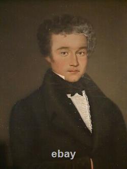 Portrait Of Man Empire Era, Dated 1822, Golden Frame XIX Th S