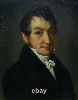 Portrait Of Man Epoque Louis XVIII Oil On Tôle Du Xixème Siècle