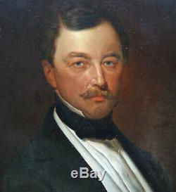 Portrait Of Man German School Xixth Century Arms Bismarck Epoque Hst