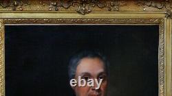 Portrait Of Un Notable À L'écriture Oil On Canvas Epoque XIX Ème Cadre Louis XV