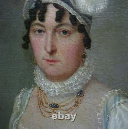 Portrait Of Woman Ecole Française D'epoque Ist Empire Pst At The Beginning Of The 19th Century