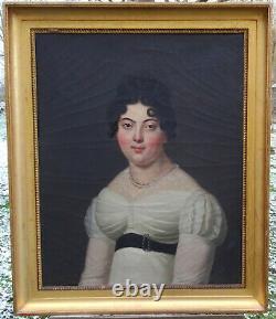 Portrait Of Woman Epoque Louis XVIII Ecole Française Du Xixème H/t
