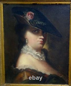 Portrait Of Woman In The Hat Era Louis XV French School Of The 19th Hst