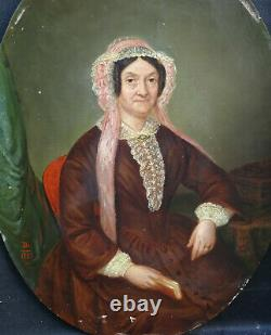 Portrait Of Woman Of Epoque Second Empire French School Of The Xixth Century Hsp