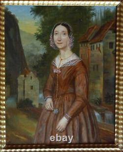 Portrait Of Woman Outside Epoque Louis Phillippe At The Beginning Of Xixth Century Pst