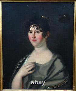 Portrait Of Woman Period I Empire Oil/toile 19th Century German School