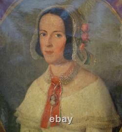 Portrait Of Woman Period Louis Philippe Ecole Française 19th Century Hst