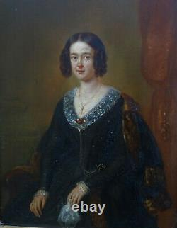 Portrait Of Woman Period Louis Philippe Ecole Française Of The 19th Oil/panel