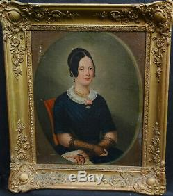 Portrait Of Woman Vintage Louis Philippe French School Of The Nineteenth Century Hst