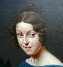 Portrait Of Young Woman From Charles X 19th Century French School Hst