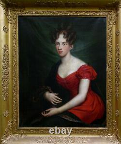 Portrait Of Young Woman Of Epoque Louis XVIII Romantic School 19th Century Pst