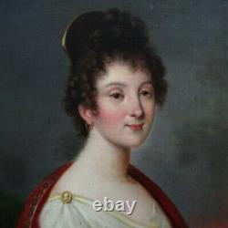 Portrait Of Young Woman Period 1st Empire French School Of The 19th Century Hst