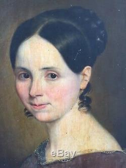 Portrait Young Woman Oil On Canvas XIX Restoration Period