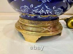 Rare And Beautiful Lamp In Fine Earthenware Of Gien Decorated Blue And White. 19th Century