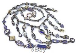 Rare Necklace Old Drapery With Numerous Medals Enamel Nineteenth Time