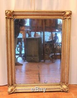 Rectangular Golden Mirror In Wood And Stucco Nineteenth Century