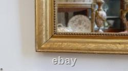 Rectangular Mirror Golden Wood Engraved, Restoration Period, 19th Century
