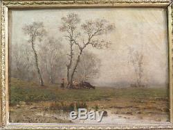 Richard Ancient Little Oil Table On Canvas Landscape Animal Woman Epoque XIX