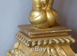 Sculpture Golden Wood, Grand Angel In Prayer Altar Of Base, Time XIX