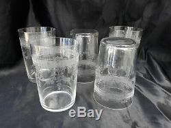 Series 5 Crystal Glasses Engraved Crystal Goblet 19th Time XIX Baccarat