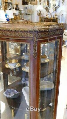 Showcase Curved Transition Style Mahogany And Bronze, Late Nineteenth Time