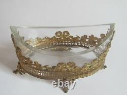 Shuttle Cup Crystal Mount Ringed Gilt Bronze Planter Time XIX