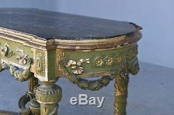 Side Table Lacquered Green And Golden Nineteenth Time