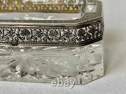 Silver Coil Massif & Crystal Glass Coil Sablé Epoque XIX Ème