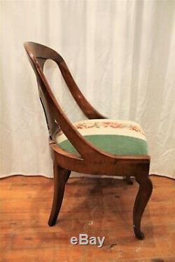 Six Gondolas Mahogany Chairs Restoration Period Nineteenth Century