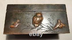Small Japanese Inkwell In Bronze 19th Century Era