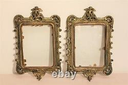 Small Pair Of Frames In Bronze Decorated With Angels Era Nineteenth Century
